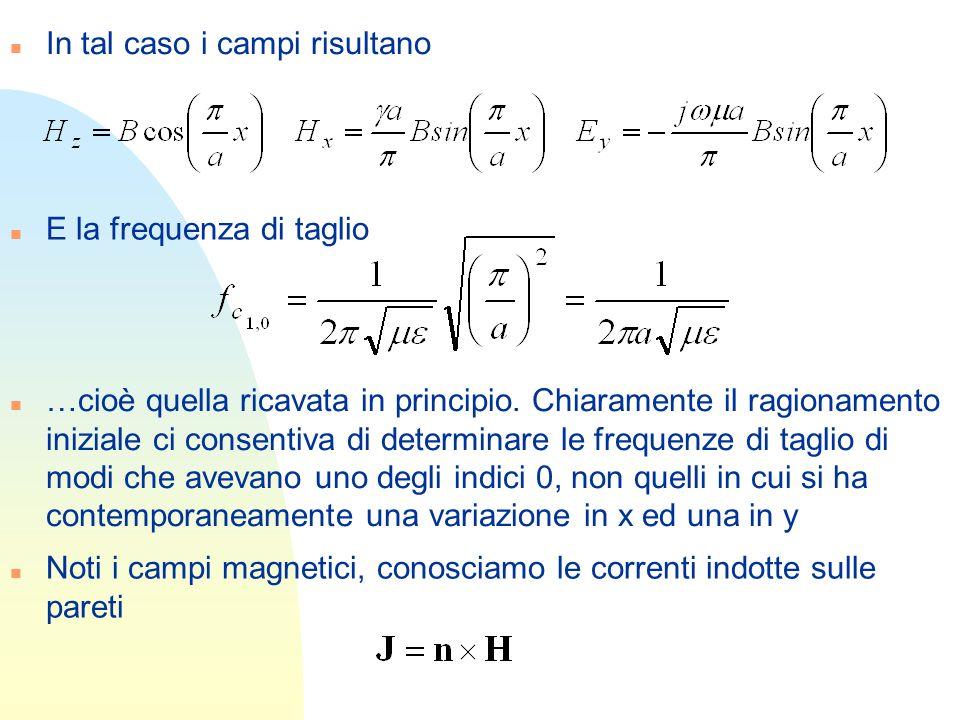 n In tal caso i campi risultano n E la frequenza di taglio n …cioè quella ricavata in principio. Chiaramente il ragionamento iniziale ci consentiva di