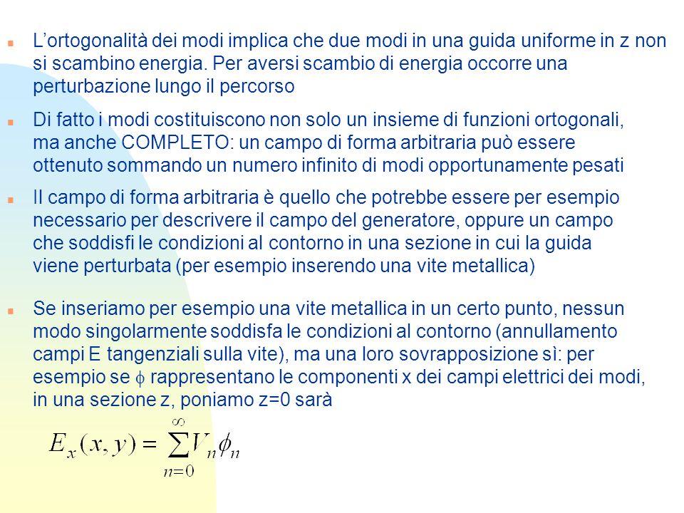 n Lortogonalità dei modi implica che due modi in una guida uniforme in z non si scambino energia. Per aversi scambio di energia occorre una perturbazi