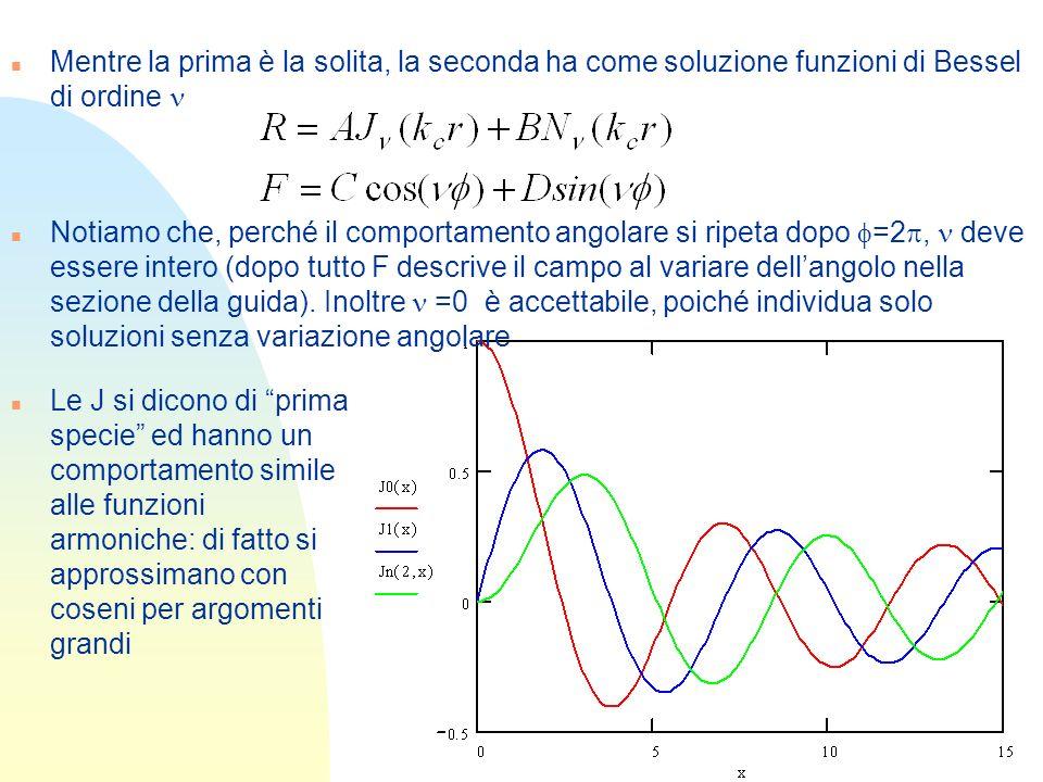 Mentre la prima è la solita, la seconda ha come soluzione funzioni di Bessel di ordine n Le J si dicono di prima specie ed hanno un comportamento simi