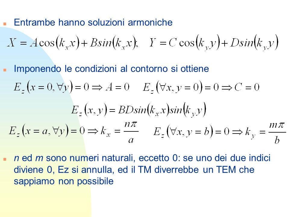 n Entrambe hanno soluzioni armoniche n Imponendo le condizioni al contorno si ottiene n n ed m sono numeri naturali, eccetto 0: se uno dei due indici