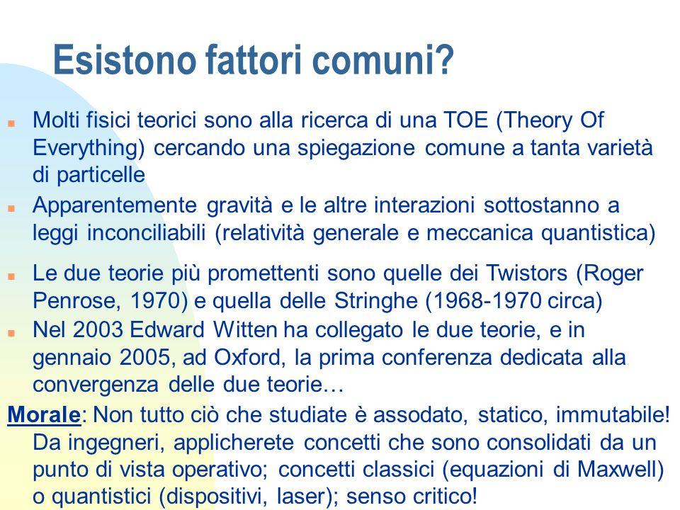 Esistono fattori comuni? n Molti fisici teorici sono alla ricerca di una TOE (Theory Of Everything) cercando una spiegazione comune a tanta varietà di