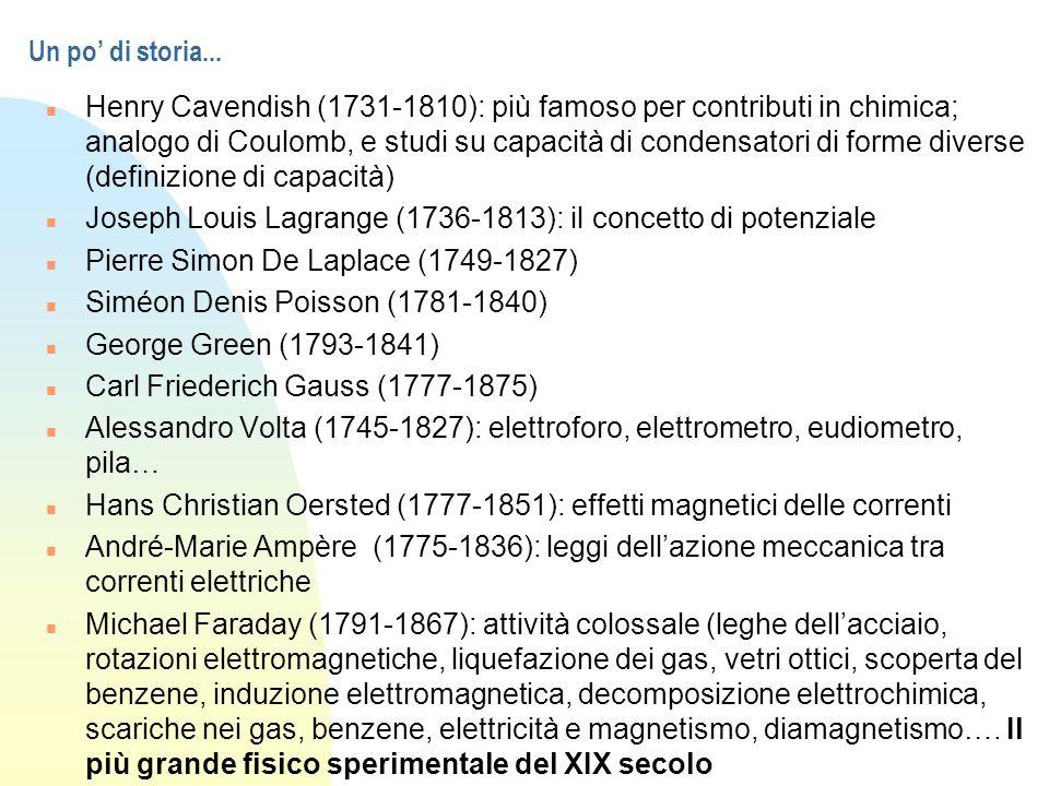 Un po di storia... n Henry Cavendish (1731-1810): più famoso per contributi in chimica; analogo di Coulomb, e studi su capacità di condensatori di for