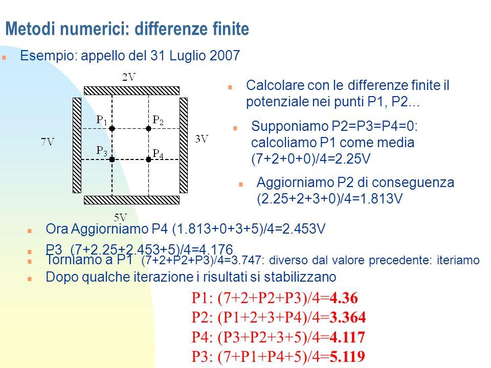 Metodi numerici: differenze finite n Esempio: appello del 31 Luglio 2007 n Calcolare con le differenze finite il potenziale nei punti P1, P2... n Supp