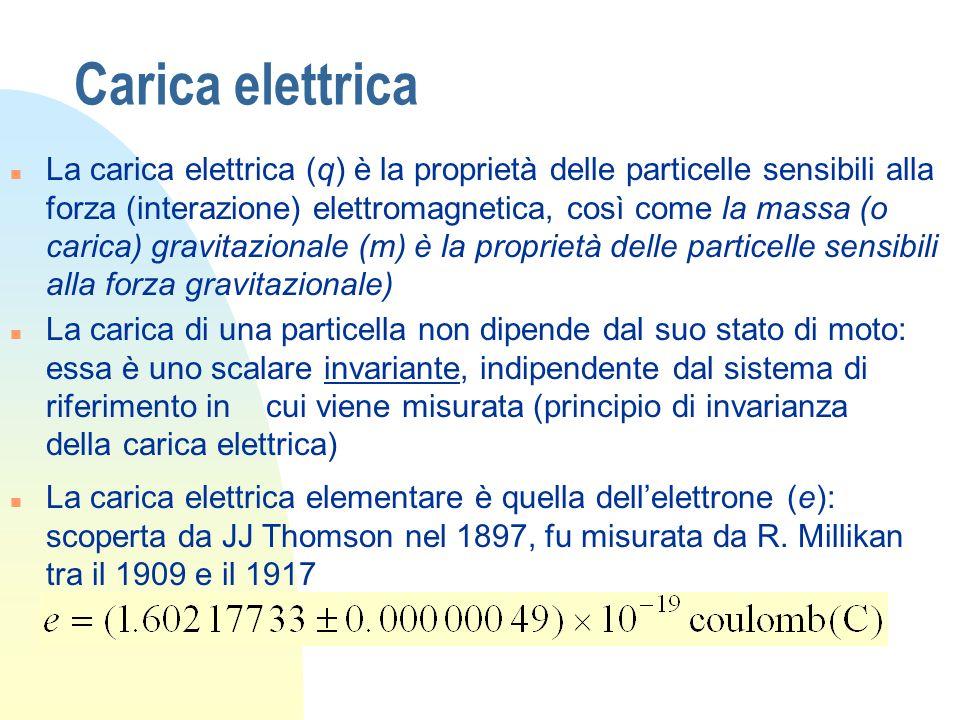 Carica elettrica n La carica elettrica (q) è la proprietà delle particelle sensibili alla forza (interazione) elettromagnetica, così come la massa (o