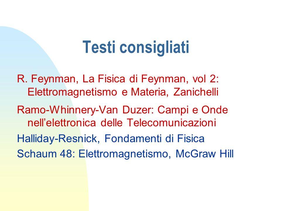 Testi consigliati R. Feynman, La Fisica di Feynman, vol 2: Elettromagnetismo e Materia, Zanichelli Ramo-Whinnery-Van Duzer: Campi e Onde nellelettroni