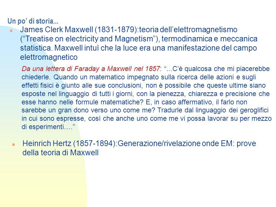 Un po di storia... n James Clerk Maxwell (1831-1879):teoria dellelettromagnetismo (Treatise on electricity and Magnetism), termodinamica e meccanica s