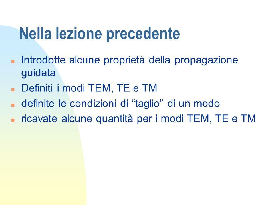 Nella lezione precedente n Introdotte alcune proprietà della propagazione guidata n Definiti i modi TEM, TE e TM n definite le condizioni di taglio di