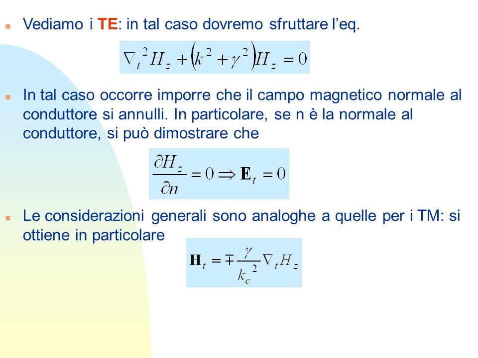 n Vediamo i TE: in tal caso dovremo sfruttare leq. n In tal caso occorre imporre che il campo magnetico normale al conduttore si annulli. In particola