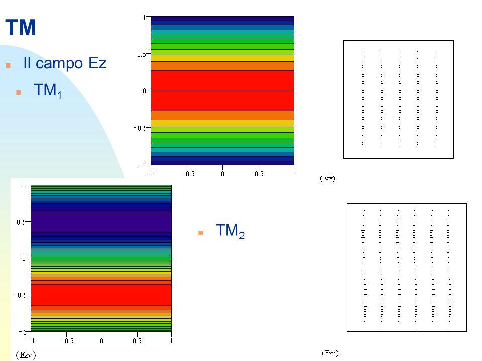 TM n Noto kc, possiamo determinare le costanti di propagazione e le frequenze di taglio Le frequenze di taglio sono definite come quelle a cui =0 per cui n Per esempio: 2 conduttori con aria in mezzo, distanti 1 cm, danno la prima frequenza di taglio a 15 GHz, la seconda a 30 ecc