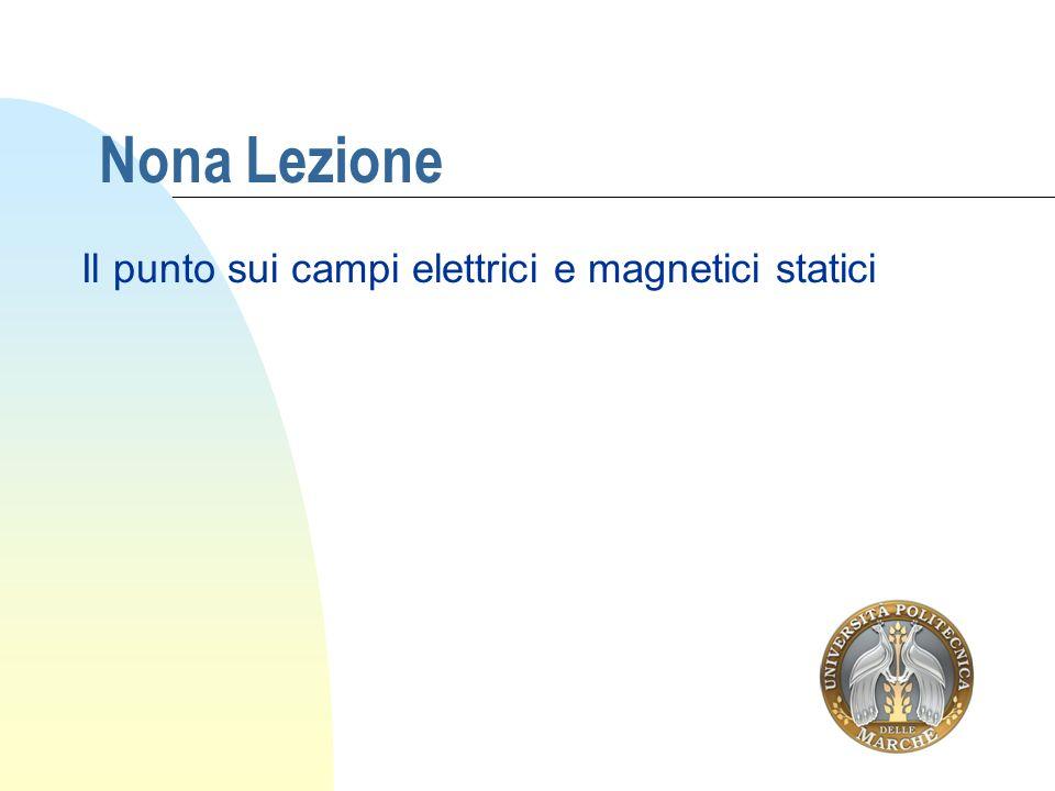 Nona Lezione Il punto sui campi elettrici e magnetici statici