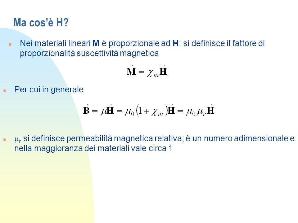 Ma cosè H? n Nei materiali lineari M è proporzionale ad H: si definisce il fattore di proporzionalità suscettività magnetica n Per cui in generale r s
