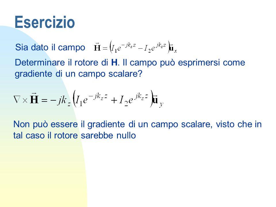 Esercizio Sia dato il campo Determinare il rotore di H. Il campo può esprimersi come gradiente di un campo scalare? Non può essere il gradiente di un