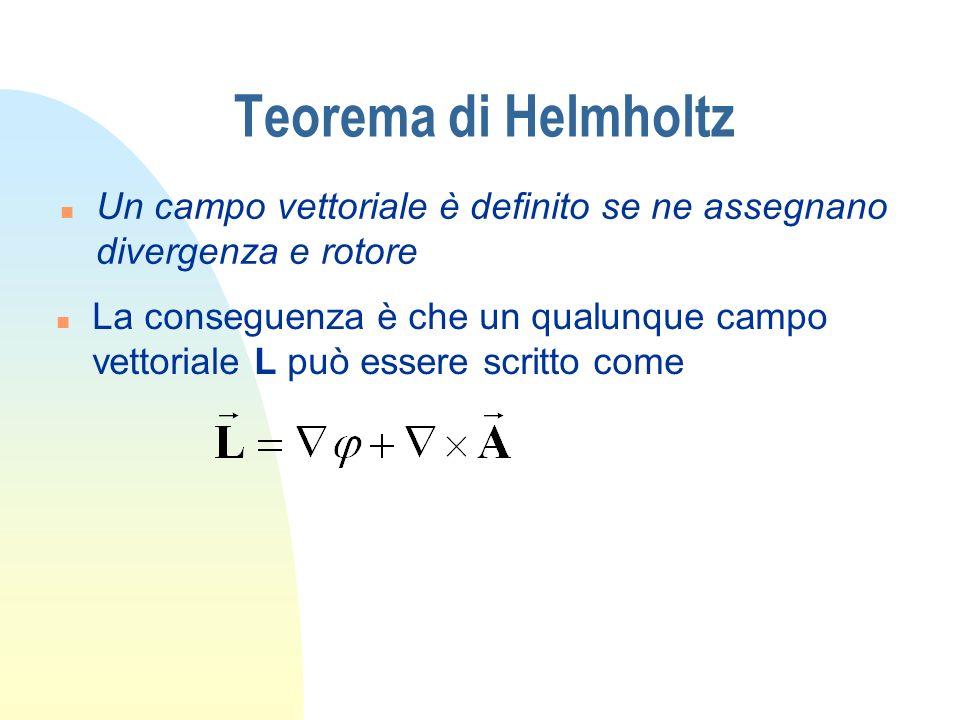 Teorema di Helmholtz n Un campo vettoriale è definito se ne assegnano divergenza e rotore n La conseguenza è che un qualunque campo vettoriale L può e