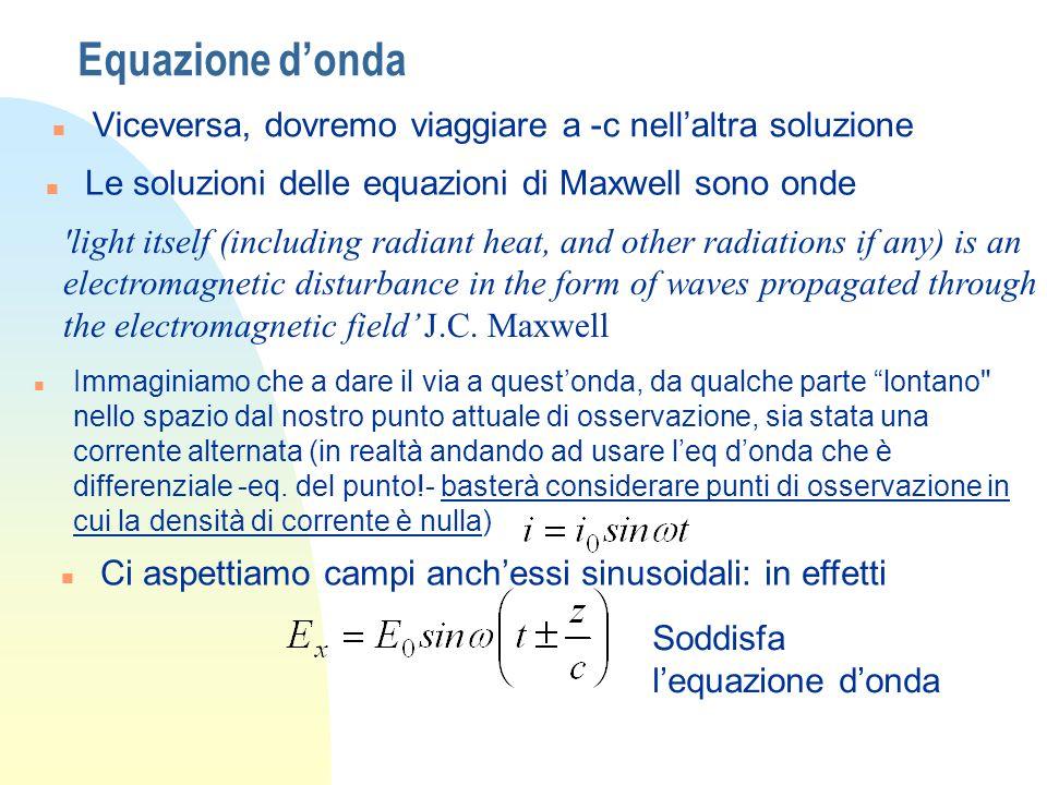 Equazione donda n Viceversa, dovremo viaggiare a -c nellaltra soluzione n Le soluzioni delle equazioni di Maxwell sono onde 'light itself (including r