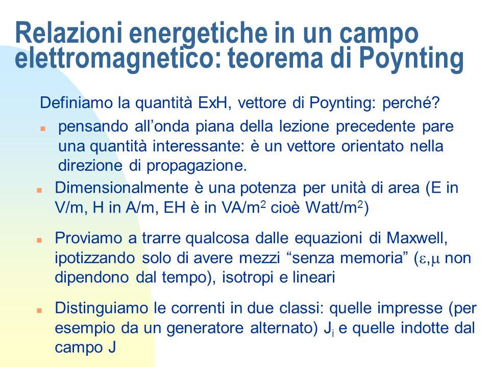 Relazioni energetiche in un campo elettromagnetico: teorema di Poynting Definiamo la quantità ExH, vettore di Poynting: perché? n pensando allonda pia