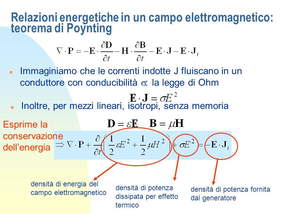 Relazioni energetiche in un campo elettromagnetico: teorema di Poynting Immaginiamo che le correnti indotte J fluiscano in un conduttore con conducibilità : la legge di Ohm n Inoltre, per mezzi lineari, isotropi, senza memoria densità di potenza fornita dal generatore densità di potenza dissipata per effetto termico densità di energia del campo elettromagnetico Esprime la conservazione dellenergia