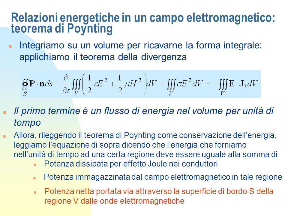 Relazioni energetiche in un campo elettromagnetico: teorema di Poynting n Integriamo su un volume per ricavarne la forma integrale: applichiamo il teorema della divergenza n Il primo termine è un flusso di energia nel volume per unità di tempo n Allora, rileggendo il teorema di Poynting come conservazione dellenergia, leggiamo lequazione di sopra dicendo che lenergia che forniamo nellunità di tempo ad una certa regione deve essere uguale alla somma di n Potenza dissipata per effetto Joule nei conduttori n Potenza immagazzinata dal campo elettromagnetico in tale regione n Potenza netta portata via attraverso la superficie di bordo S della regione V dalle onde elettromagnetiche