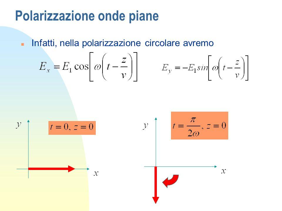 Polarizzazione onde piane n Infatti, nella polarizzazione circolare avremo