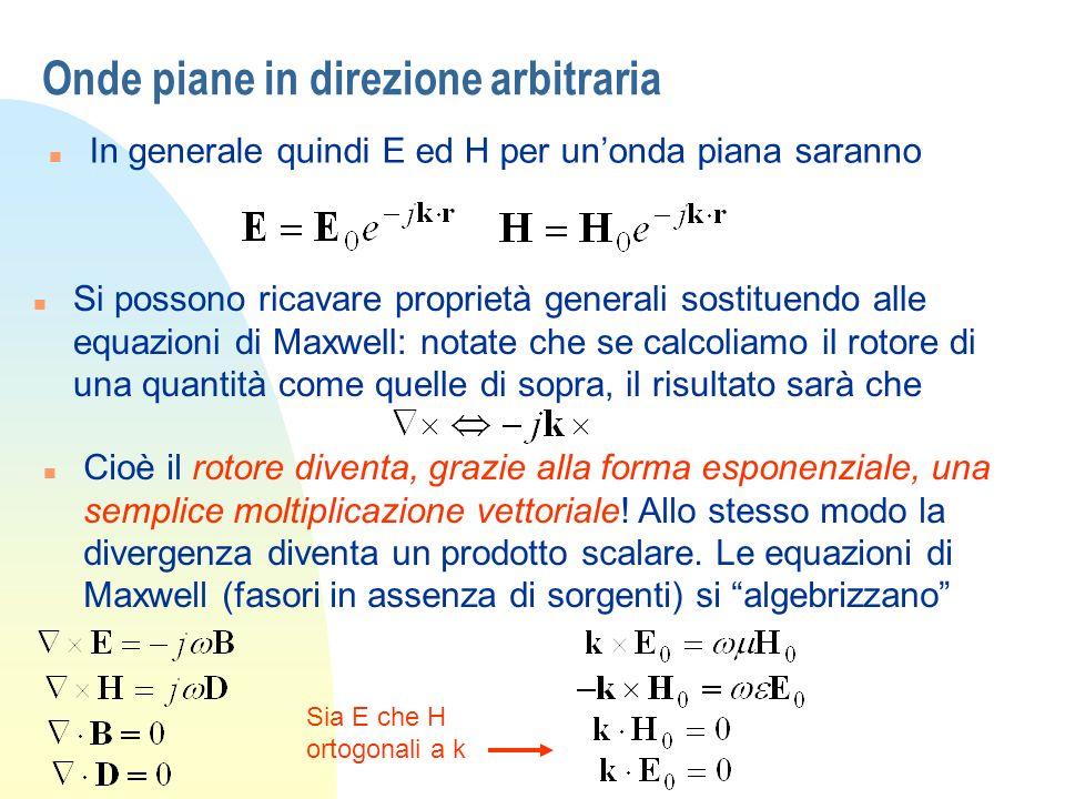 Onde piane in direzione arbitraria n In generale quindi E ed H per unonda piana saranno n Si possono ricavare proprietà generali sostituendo alle equa
