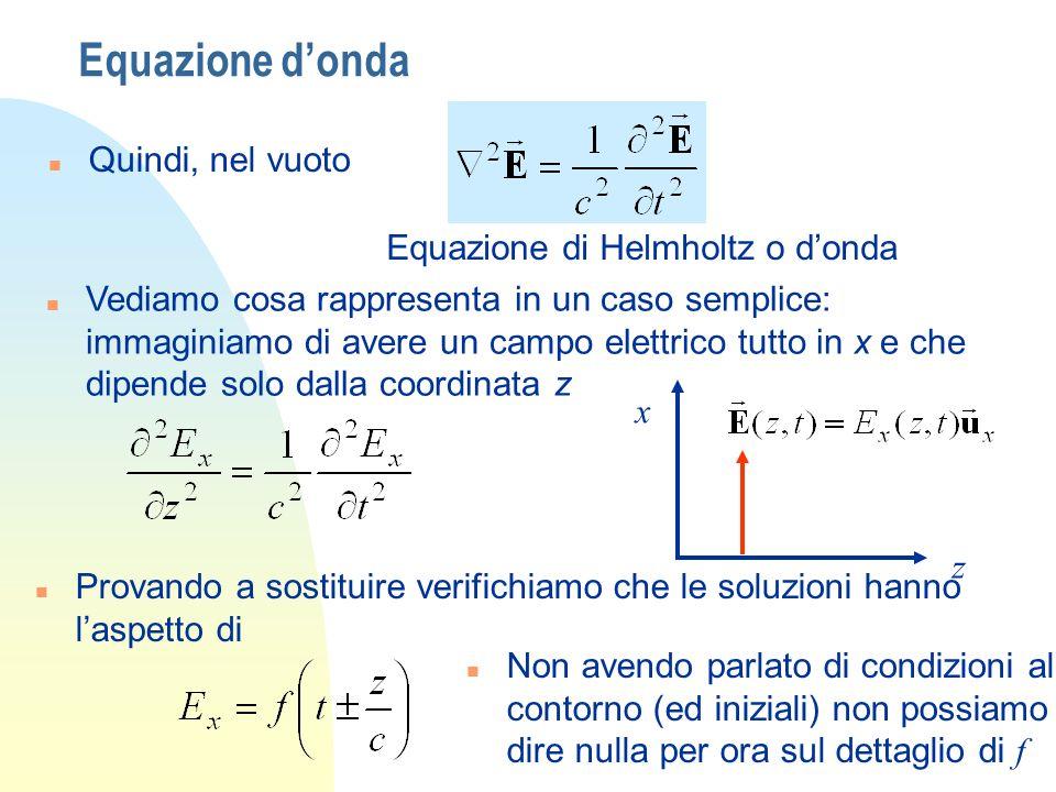 Equazione donda n Quindi, nel vuoto Equazione di Helmholtz o donda n Vediamo cosa rappresenta in un caso semplice: immaginiamo di avere un campo elettrico tutto in x e che dipende solo dalla coordinata z x z n Provando a sostituire verifichiamo che le soluzioni hanno laspetto di Non avendo parlato di condizioni al contorno (ed iniziali) non possiamo dire nulla per ora sul dettaglio di f