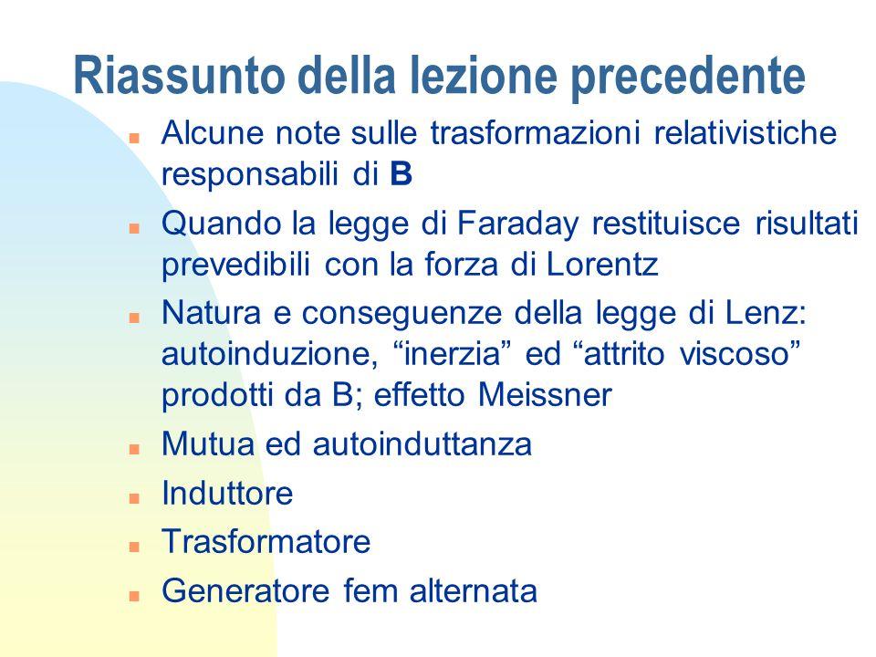 Riassunto della lezione precedente n Alcune note sulle trasformazioni relativistiche responsabili di B n Quando la legge di Faraday restituisce risult