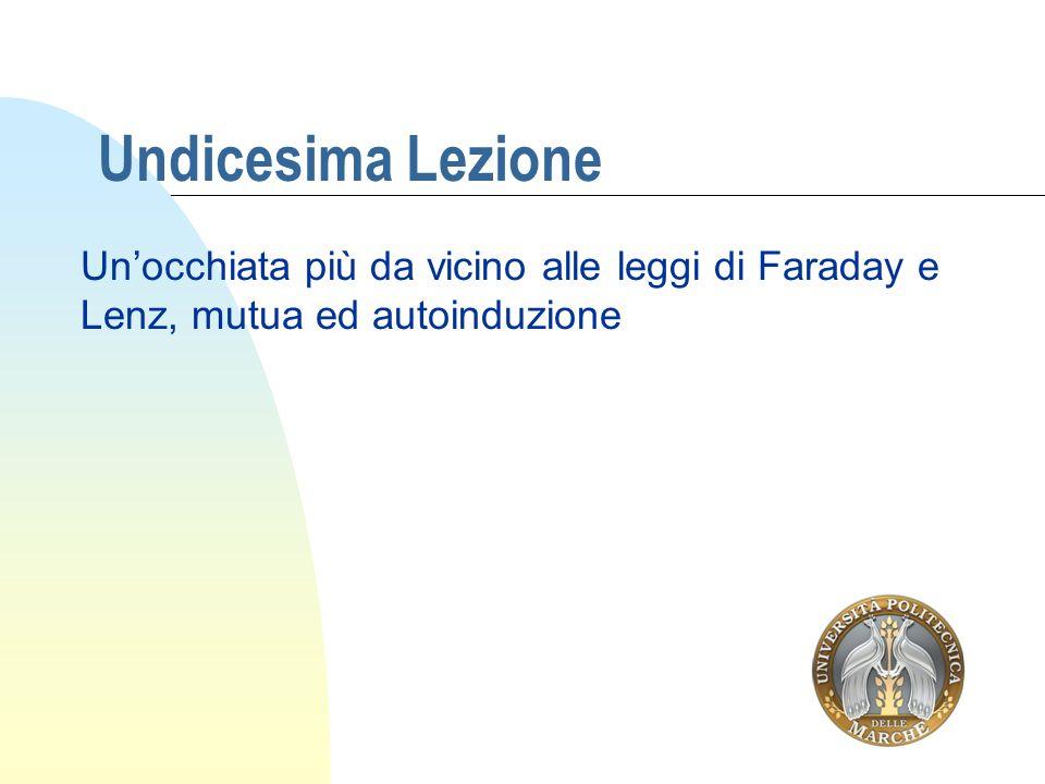 Undicesima Lezione Unocchiata più da vicino alle leggi di Faraday e Lenz, mutua ed autoinduzione