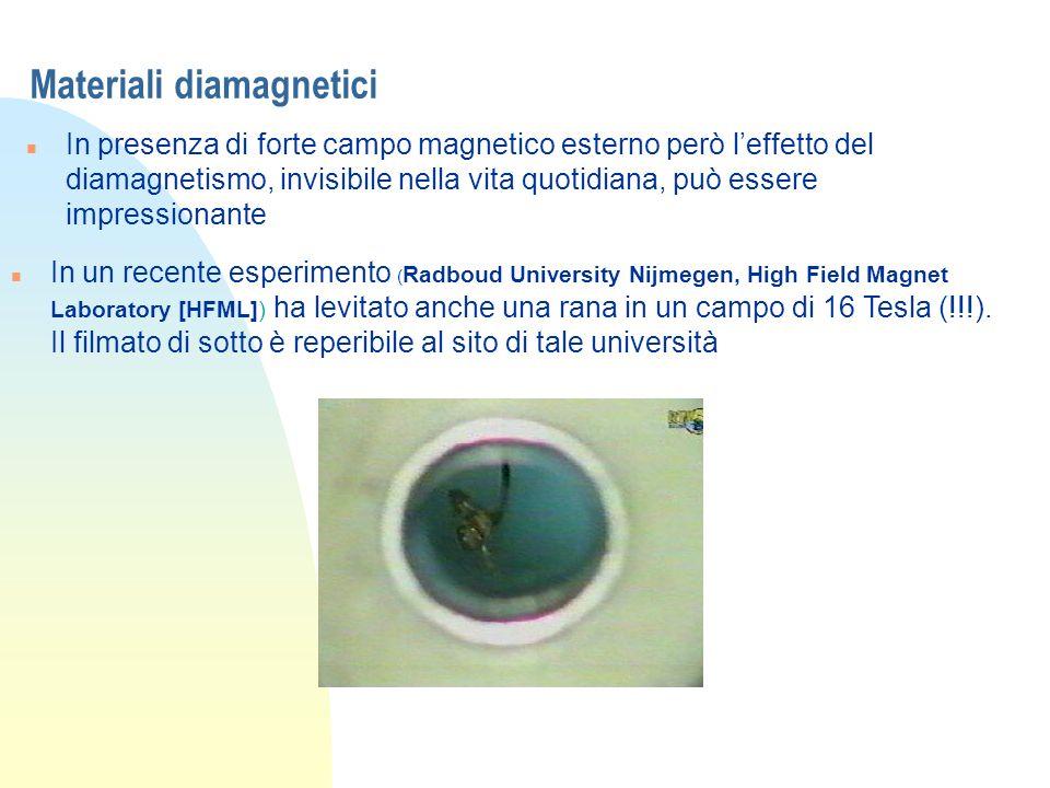 Materiali diamagnetici n In presenza di forte campo magnetico esterno però leffetto del diamagnetismo, invisibile nella vita quotidiana, può essere im