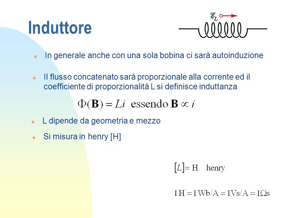 Induttore n In generale anche con una sola bobina ci sarà autoinduzione n Il flusso concatenato sarà proporzionale alla corrente ed il coefficiente di