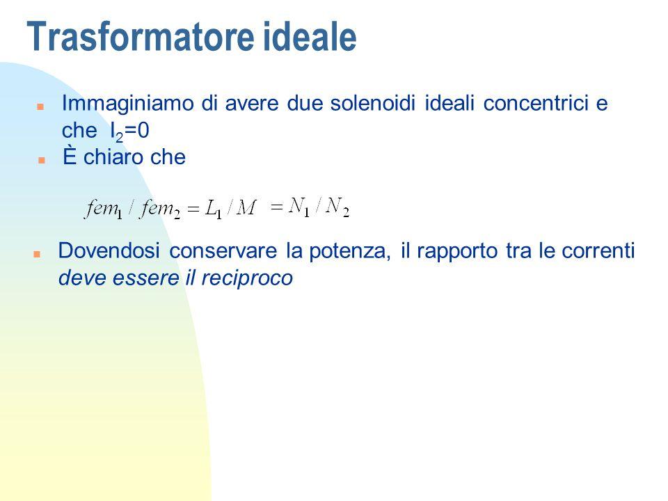 Trasformatore ideale n Immaginiamo di avere due solenoidi ideali concentrici e che I 2 =0 n È chiaro che n Dovendosi conservare la potenza, il rapport