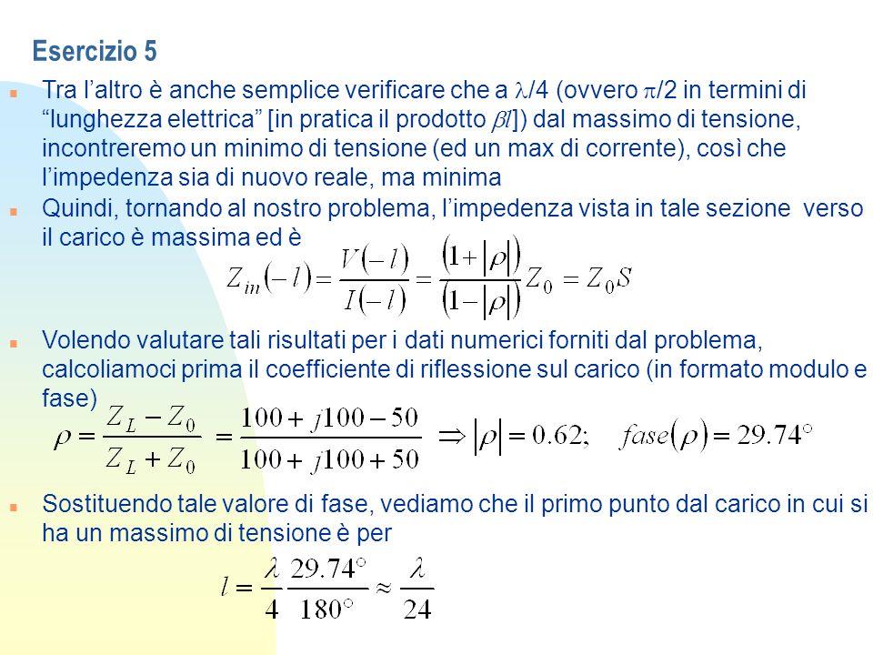 Esercizio 5 Tra laltro è anche semplice verificare che a /4 (ovvero /2 in termini di lunghezza elettrica [in pratica il prodotto l ]) dal massimo di t