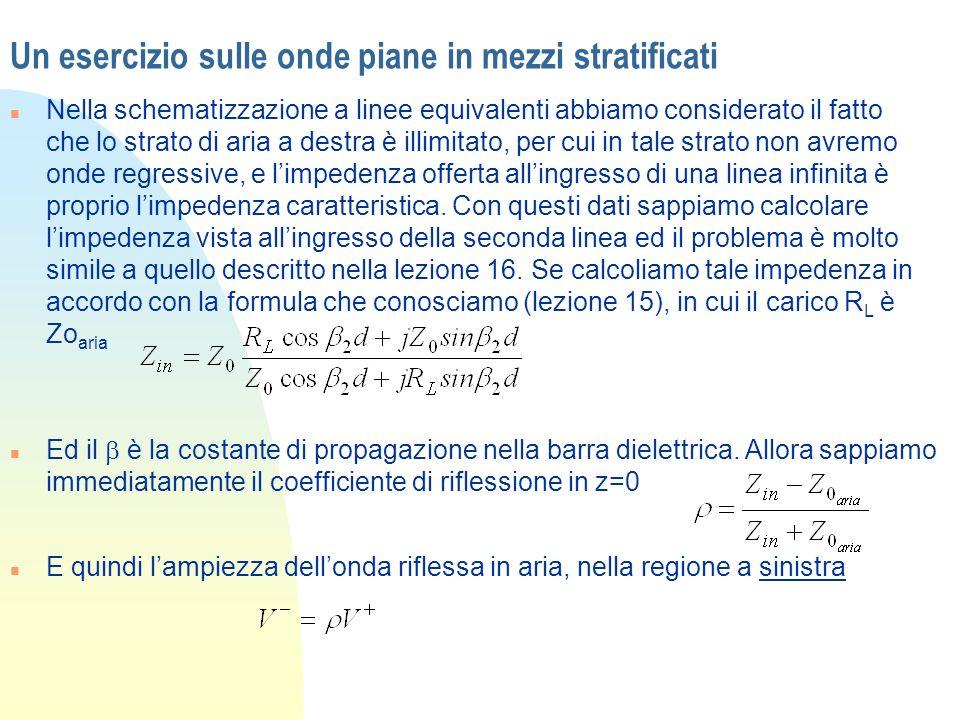 Un esercizio sulle onde piane in mezzi stratificati n Nella schematizzazione a linee equivalenti abbiamo considerato il fatto che lo strato di aria a