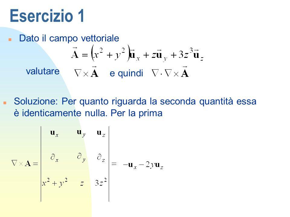 Esercizio 1 n Dato il campo vettoriale valutare n Soluzione: Per quanto riguarda la seconda quantità essa è identicamente nulla. Per la prima e quindi