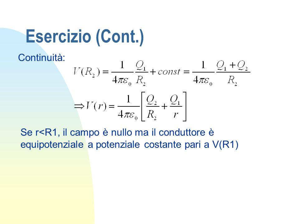 Esercizio (Cont.) Continuità: Se r<R1, il campo è nullo ma il conduttore è equipotenziale a potenziale costante pari a V(R1)