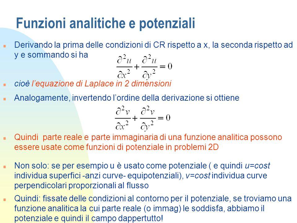 Funzioni analitiche e potenziali n Derivando la prima delle condizioni di CR rispetto a x, la seconda rispetto ad y e sommando si ha n cioè lequazione