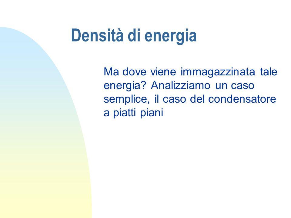 Densità di energia Ma dove viene immagazzinata tale energia? Analizziamo un caso semplice, il caso del condensatore a piatti piani