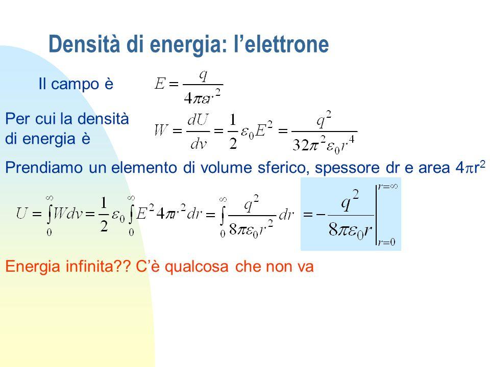 Densità di energia: lelettrone Prendiamo un elemento di volume sferico, spessore dr e area 4 r 2 Il campo è Per cui la densità di energia è Energia in