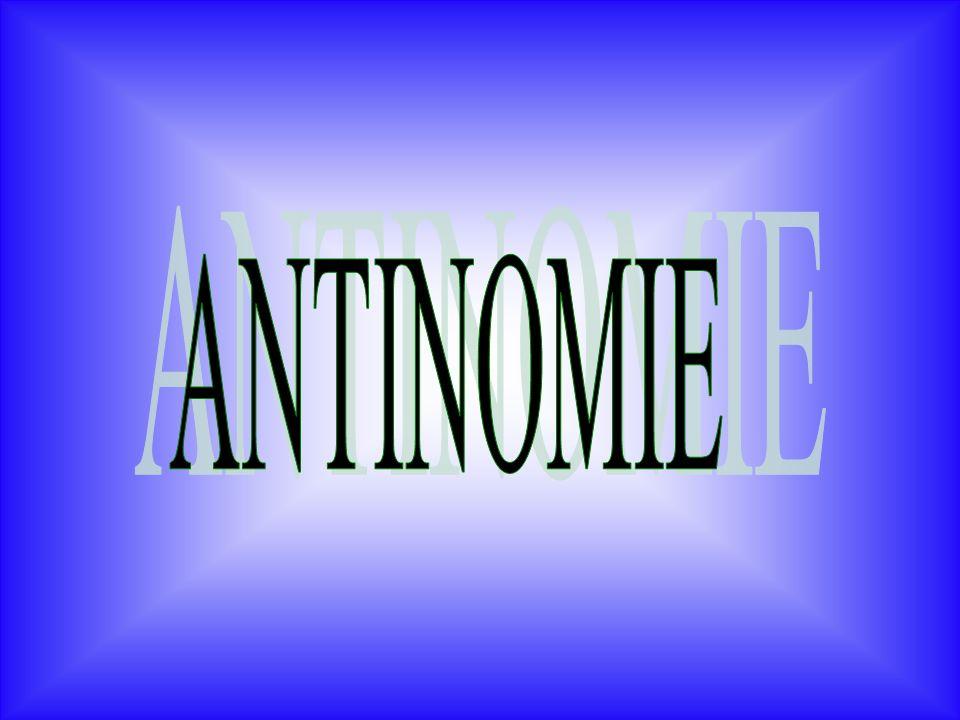 Antinomia: (dal greco antinomía: antí, contro e nómos, legge) compresenza, in un ragionamento, di due soluzioni reciprocamente esclusive e contraddittorie,entrambe ugualmente dimostrabili.