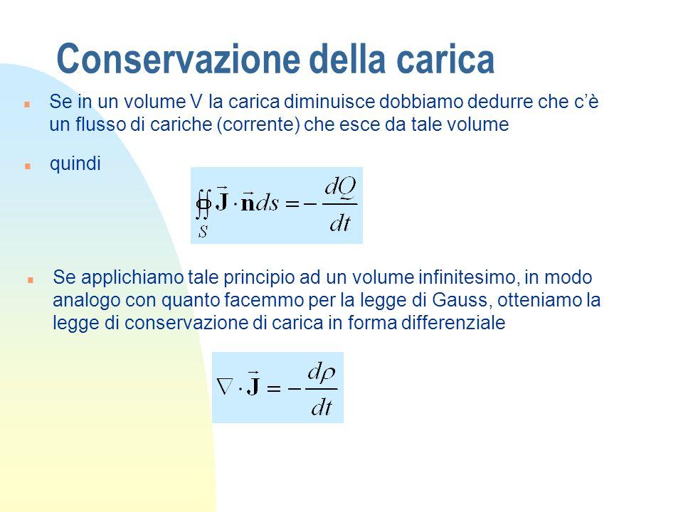 Conservazione della carica n Se in un volume V la carica diminuisce dobbiamo dedurre che cè un flusso di cariche (corrente) che esce da tale volume n