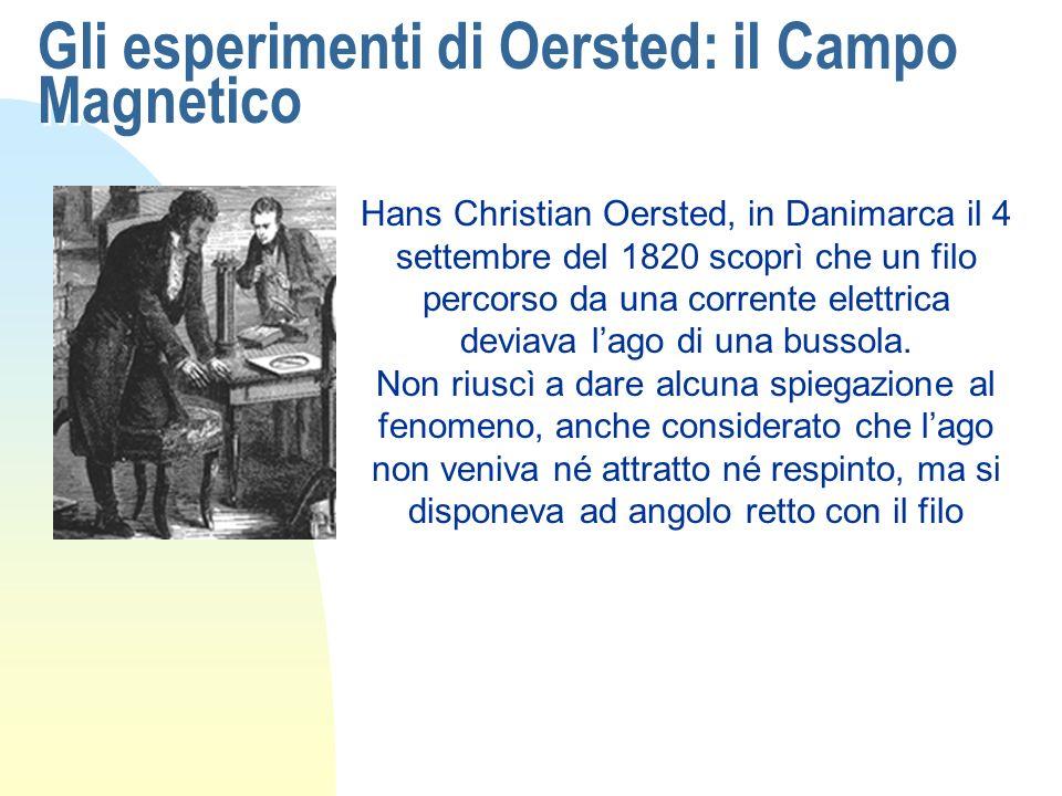 Gli esperimenti di Oersted: il Campo Magnetico Hans Christian Oersted, in Danimarca il 4 settembre del 1820 scoprì che un filo percorso da una corrent