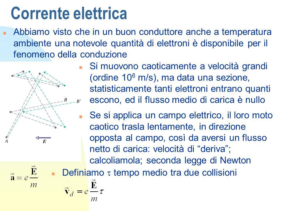 Corrente elettrica n Abbiamo visto che in un buon conduttore anche a temperatura ambiente una notevole quantità di elettroni è disponibile per il feno
