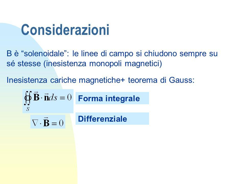 Considerazioni B è solenoidale: le linee di campo si chiudono sempre su sé stesse (inesistenza monopoli magnetici) Inesistenza cariche magnetiche+ teo