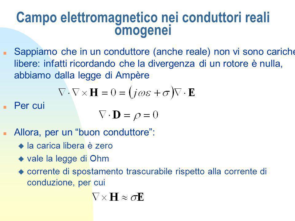 Campo elettromagnetico nei conduttori reali omogenei n Sappiamo che in un conduttore (anche reale) non vi sono cariche libere: infatti ricordando che