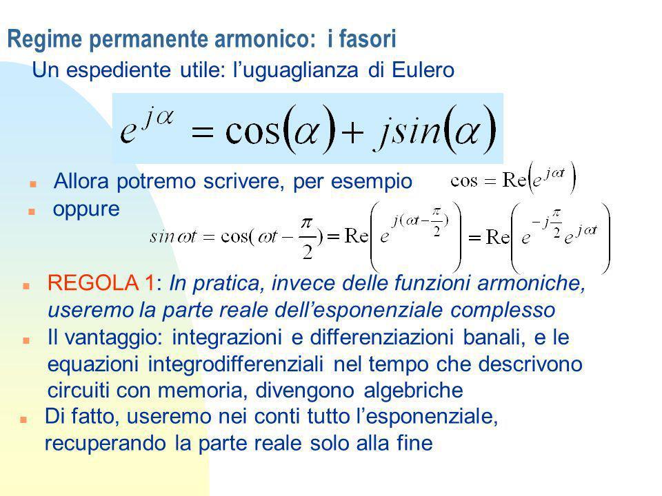 Regime permanente armonico: i fasori Un espediente utile: luguaglianza di Eulero n oppure n Allora potremo scrivere, per esempio n REGOLA 1: In pratic