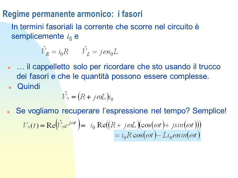 Regime permanente armonico: i fasori In termini fasoriali la corrente che scorre nel circuito è semplicemente i 0 e n … il cappelletto solo per ricord