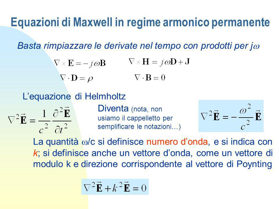 Equazioni di Maxwell in regime armonico permanente Basta rimpiazzare le derivate nel tempo con prodotti per j Lequazione di Helmholtz La quantità /c s