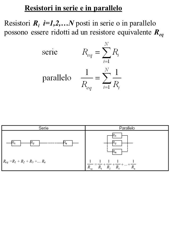 Resistori in serie e in parallelo Resistori R i i=1,2,…N posti in serie o in parallelo possono essere ridotti ad un resistore equivalente R eq