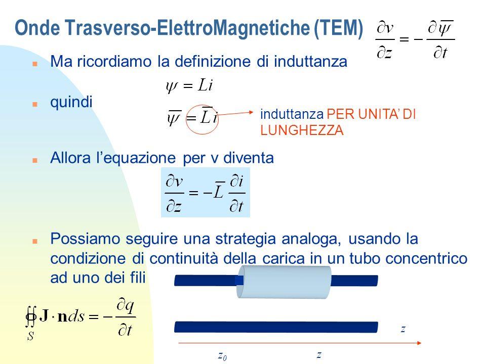Onde Trasverso-ElettroMagnetiche (TEM) n Ma ricordiamo la definizione di induttanza n Allora lequazione per v diventa n Possiamo seguire una strategia