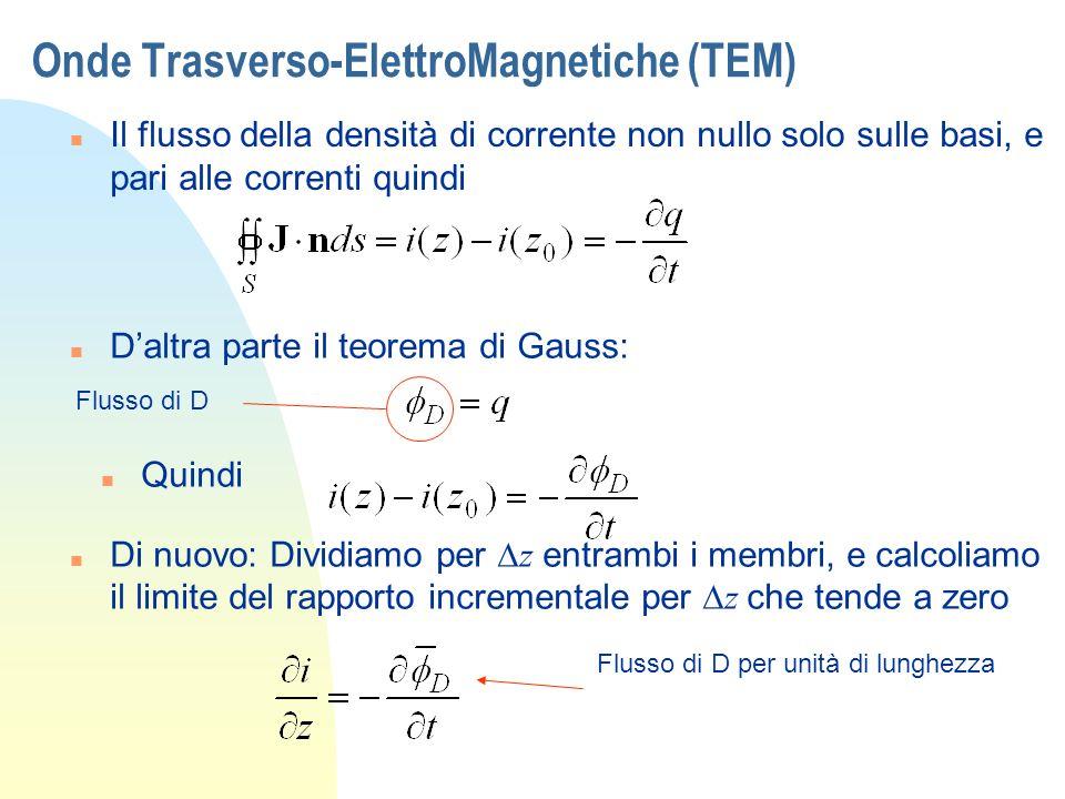 Onde Trasverso-ElettroMagnetiche (TEM) n Il flusso della densità di corrente non nullo solo sulle basi, e pari alle correnti quindi n Daltra parte il
