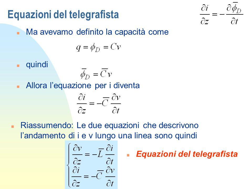 Equazioni del telegrafista n Ma avevamo definito la capacità come n quindi n Allora lequazione per i diventa n Riassumendo: Le due equazioni che descr