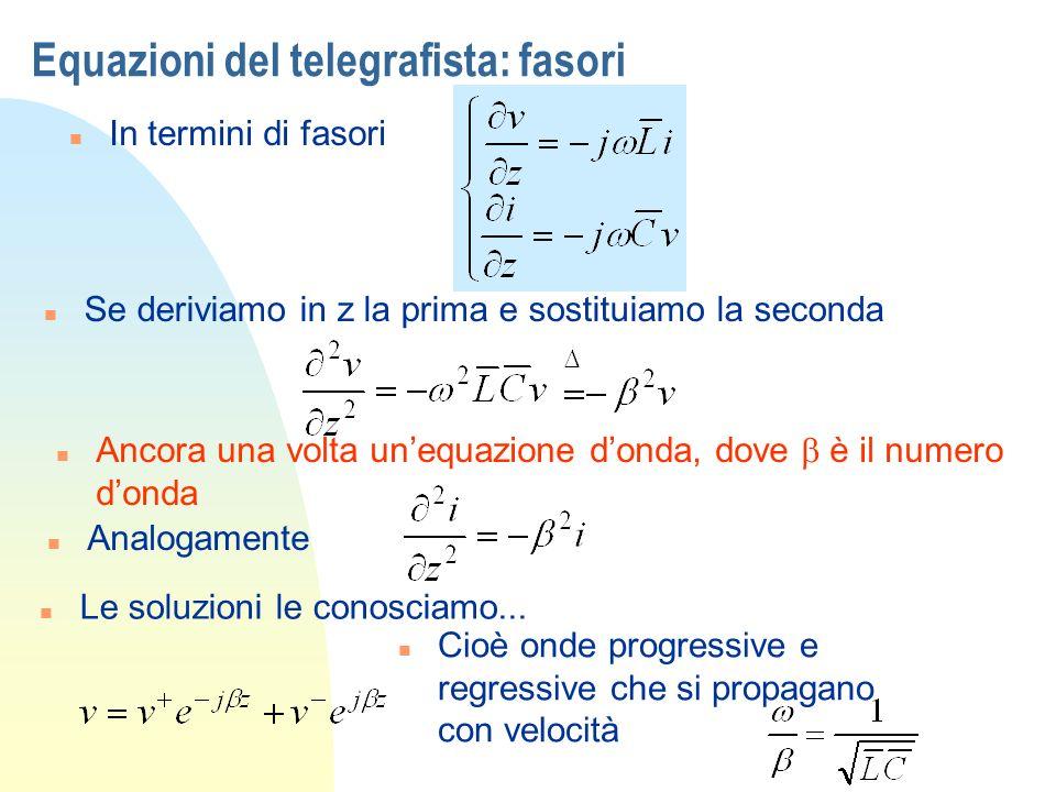 Equazioni del telegrafista: fasori n In termini di fasori n Se deriviamo in z la prima e sostituiamo la seconda Ancora una volta unequazione donda, do